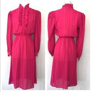 VTG 80s Midi Boho Secretary Fushia Chiffon Dress